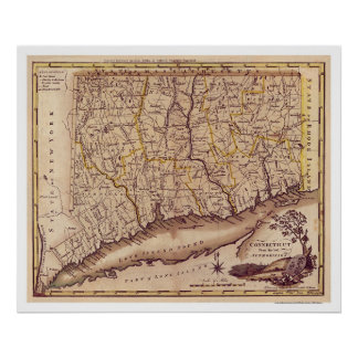 Map of Connecticut by Carey 1795 Poster
