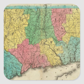 Map Of Connecticut Square Sticker