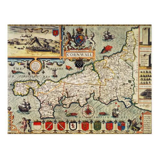 Map of Cornwall Post Card
