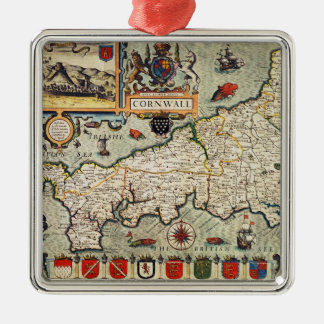 Map of Cornwall Silver-Colored Square Decoration