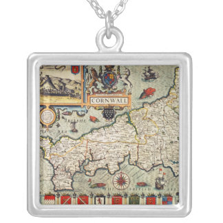 Map of Cornwall Silver Plated Necklace
