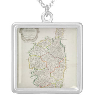 Map of Corsica Silver Plated Necklace