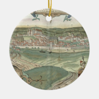 Map of Cracow, from 'Civitates Orbis Terrarum' by Christmas Ornament