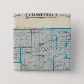 Map of Crawford County 15 Cm Square Badge