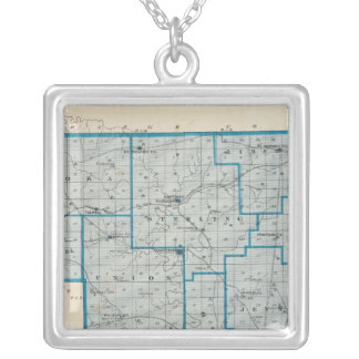 Map of Crawford County Silver Plated Necklace
