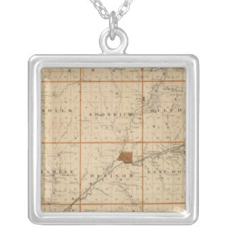 Map of Crawford County, State of Iowa Silver Plated Necklace