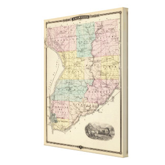 Map of Crawford County, State of Wisconsin Canvas Print