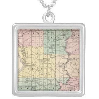 Map of Crawford County, State of Wisconsin Silver Plated Necklace