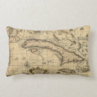 Map of Cuba and Surrounding Seas (1762) Lumbar Cushion