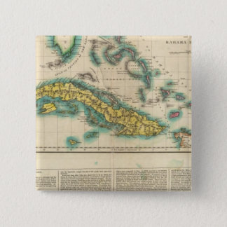 Map Of Cuba And The Bahama Islands 15 Cm Square Badge
