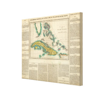 Map Of Cuba And The Bahama Islands Canvas Print