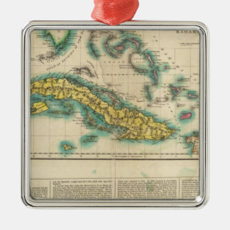 Map Of Cuba And The Bahama Islands Silver-Colored Square Decoration