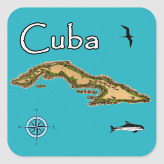 Map of Cuba (vintage) Square Sticker