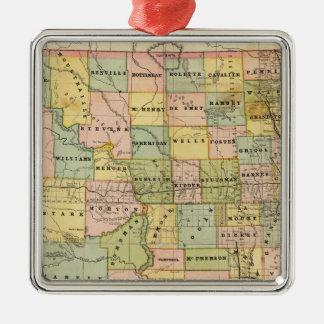 Map of Dakota Silver-Colored Square Decoration