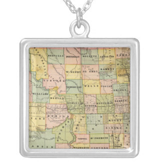Map of Dakota Silver Plated Necklace