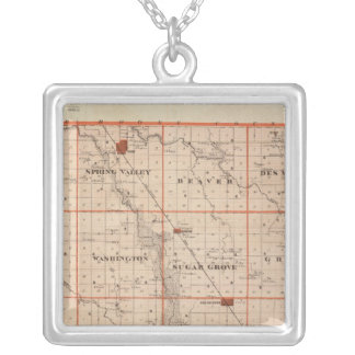 Map of Dallas County, State of Iowa Silver Plated Necklace