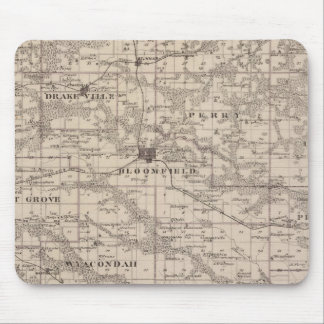 Map of Davis County, State of Iowa Mouse Mat