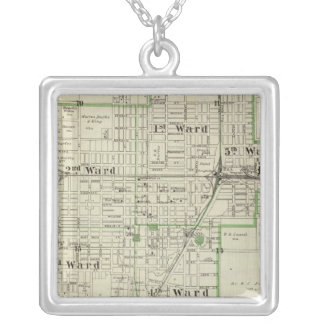 Map of Decatur City, and Sullivan and Macon Silver Plated Necklace