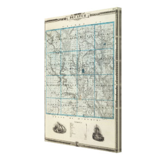 Map of Decatur County, State of Iowa Canvas Print