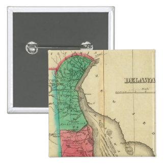Map Of Delaware 15 Cm Square Badge