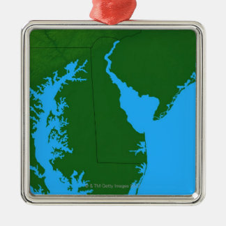 Map of Delaware Christmas Ornament