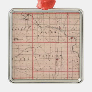 Map of Delaware County Christmas Ornament