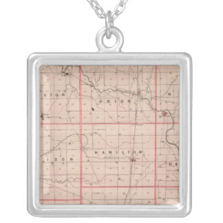 Map of Delaware County Silver Plated Necklace