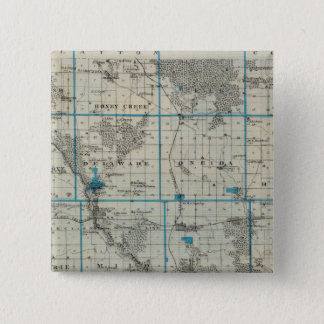 Map of Delaware County, State of Iowa 15 Cm Square Badge
