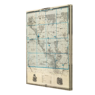 Map of Delaware County, State of Iowa Canvas Print