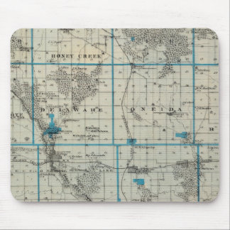 Map of Delaware County, State of Iowa Mouse Mat