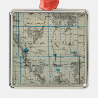 Map of Delaware County, State of Iowa Silver-Colored Square Decoration