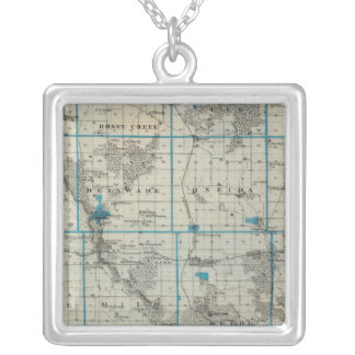 Map of Delaware County, State of Iowa Silver Plated Necklace
