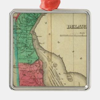 Map Of Delaware Silver-Colored Square Decoration