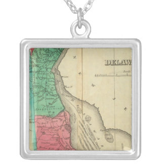 Map Of Delaware Silver Plated Necklace