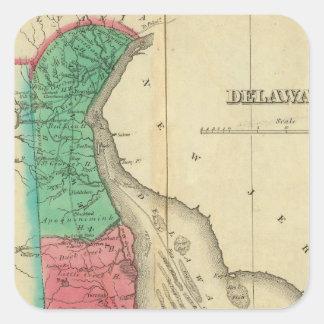 Map Of Delaware Square Sticker