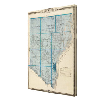 Map of Des Moines County, State of Iowa Canvas Print