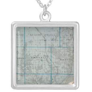 Map of Des Moines County, State of Iowa Silver Plated Necklace