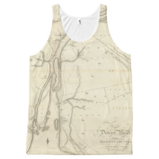 Map of Detroit River All-Over Print Tank Top