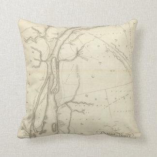 Map of Detroit River Throw Pillow