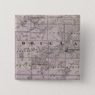 Map of Douglas and Pope Counties, Minnesota 15 Cm Square Badge