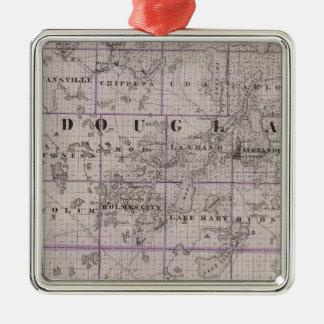 Map of Douglas and Pope Counties, Minnesota Christmas Ornament