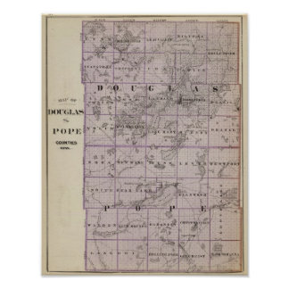 Map of Douglas and Pope Counties, Minnesota Poster