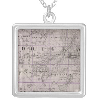 Map of Douglas and Pope Counties, Minnesota Silver Plated Necklace
