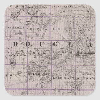 Map of Douglas and Pope Counties, Minnesota Square Sticker
