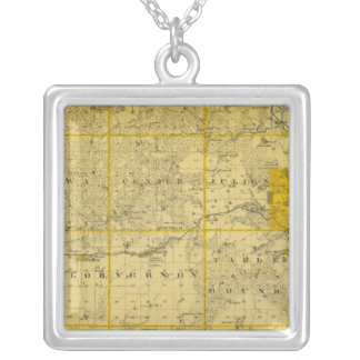 Map of Dubuque County Silver Plated Necklace