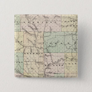 Map of Dunn County, State of Wisconsin 15 Cm Square Badge