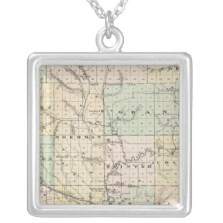 Map of Dunn County, State of Wisconsin Silver Plated Necklace