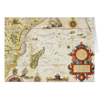 Map of East Africa and Madagascar, 1596 (hand colo Card