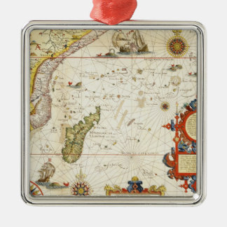 Map of East Africa and Madagascar, 1596 (hand colo Christmas Ornament