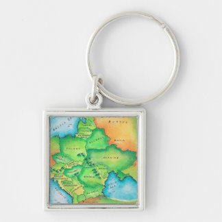 Map of Eastern Europe Key Ring